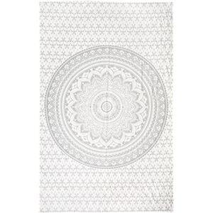 Silver Metallic Mandala Tapestry Wall Hanging